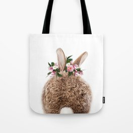 Bunny Tail, Baby Rabbit, Bunny With Flower Crown, Baby Animals Art Print By Synplus Tote Bag