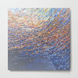 Illuminated Ocean Waves at Sunset Metal Print