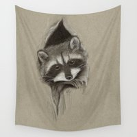 raccoon Wall Tapestries featuring Raccoon by Daydreamer
