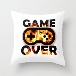 Game Over Flames Throw Pillow