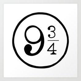 Platform 9 3/4 Nine And Three Quarters Art Print