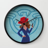 agent carter Wall Clocks featuring Agent Peggy Carter by Terry Blas