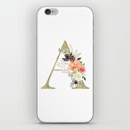 """Letter """"A"""" Monogram, Gold Leaf and Watercolor Flowers iPhone Skin"""