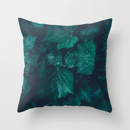 Dark emerald green ivy leaves water drops Throw Pillow