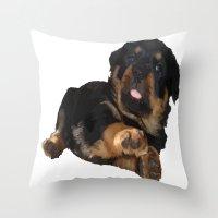 rottweiler Throw Pillows featuring Cute Rottweiler Puppy Vector by taiche