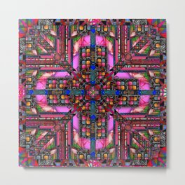 no. 257 pink green multicolored pattern with blue Metal Print