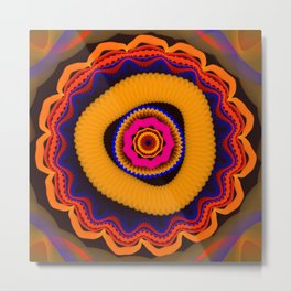 Modern abstract colourful fantasy flower Metal Print