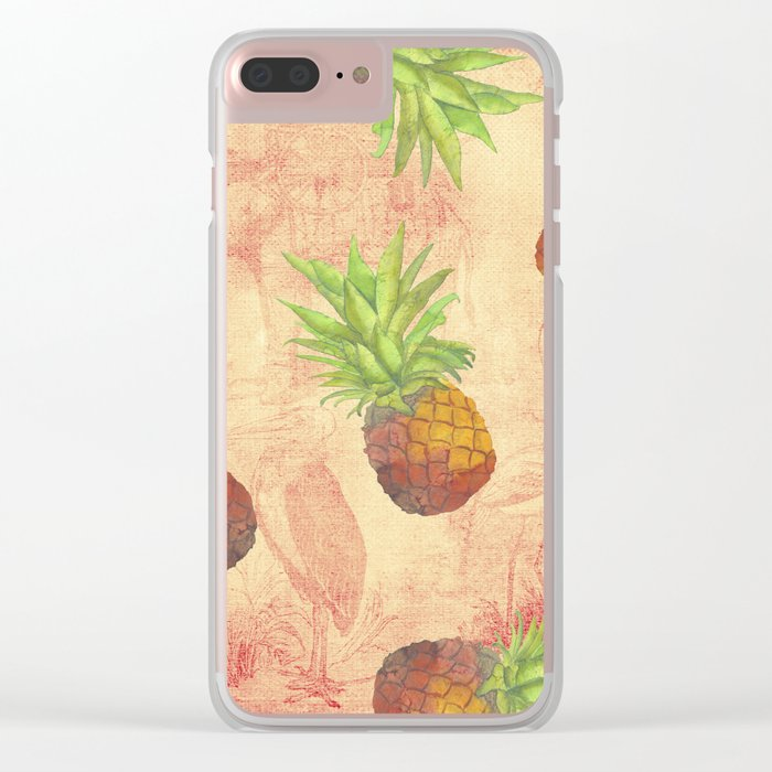Retro Vintage Pineapple with Grunge Animals Background on #Society6 Clear iPhone Case