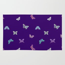 Christmas Butterfly Ornaments on purple Rug