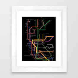 New York City subway map Framed Art Print