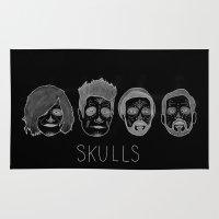 bastille Area & Throw Rugs featuring Bastille Skulls by wellsi