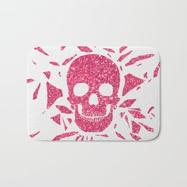 Girly Pink Glitter Abstract Skull Cool Photo Print Bath Mat
