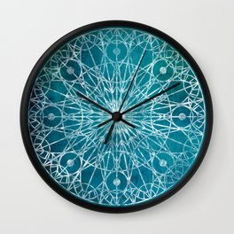 Rosette Window - Teal Wall Clock