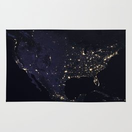 United States at Night Rug