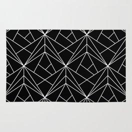 White Geometric Pattern on Black Background Rug