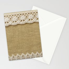 Burlap with lace Stationery Cards