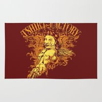russian Area & Throw Rugs featuring Russian Roulette  by Tshirt-Factory