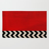 twin peaks Area & Throw Rugs featuring Twin Peaks - Red Room by ShaMiLa