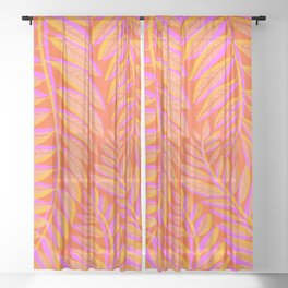 Hot Tropics - Orange Pink Tropical Vines Sheer Curtain