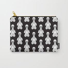 Mr Pecker Art White on Black Carry-All Pouch
