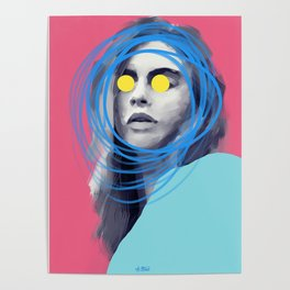 Brow Cara, POP art style, digitally painted Poster