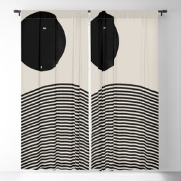 Woodblock Art, Mid Century illustration Blackout Curtain