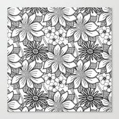 Black and White Floral Drawing Canvas Print