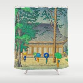 Asano Takeji Rain At Sanjusangendo Temple Vintage Japanese Woodblock Print East Asian Culture Shower Curtain