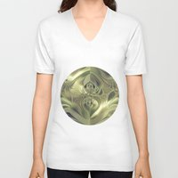 metallic V-neck T-shirts featuring Metallic Leaves by Design Windmill