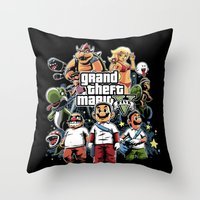 grand theft auto Throw Pillows featuring Grand Theft Mario by Fuacka