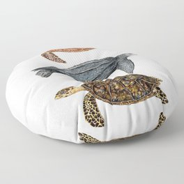 Green, leatherback and hawksbill sea turtles Floor Pillow