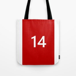 Legendary No. 14 in red and white Tote Bag