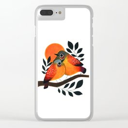Fluffy Birds Clear iPhone Case