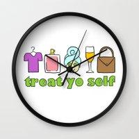 treat yo self Wall Clocks featuring Treat Yo Self Doodles by CozyReverie