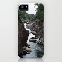 Riverside Cliffs of Geibikei Gorge in Japan iPhone Case