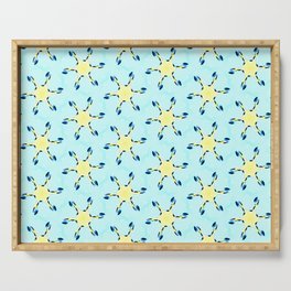 starfish on turquoise tropical sea geometric pattern Serving Tray