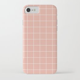 Grid Pattern Coral Pink White EAAC9D Stripe Line Minimal Stripes Lines Spring Summer iPhone Case