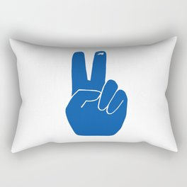 Blue Peace Out Sign Rectangular Pillow