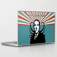 lovecraft Laptop & iPad Skins featuring H.P. Lovecraft Retro by Volkan Kutlubay