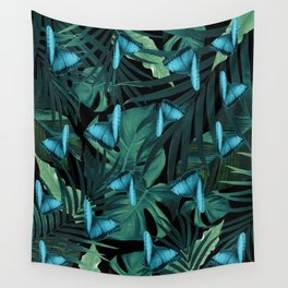 Tropical Butterfly Jungle Night Leaves Pattern #5 #tropical #decor #art #society6 Wall Tapestry