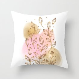 Gold Flowers and Rose Blush Throw Pillow