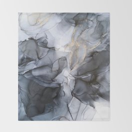 Calm but Dramatic Light Monochromatic Black & Grey Abstract Throw Blanket