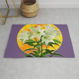 EASTER LILIES ON LILAC GOLDEN MOON ABSTRACT Rug