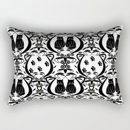 Midnight Cat Does Damask  Rectangular Pillow