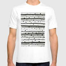 Dots and Lines MEDIUM White Mens Fitted Tee