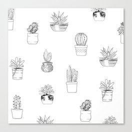 Potted Cactus Pattern Black and White Canvas Print