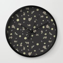 Floral on grey Wall Clock
