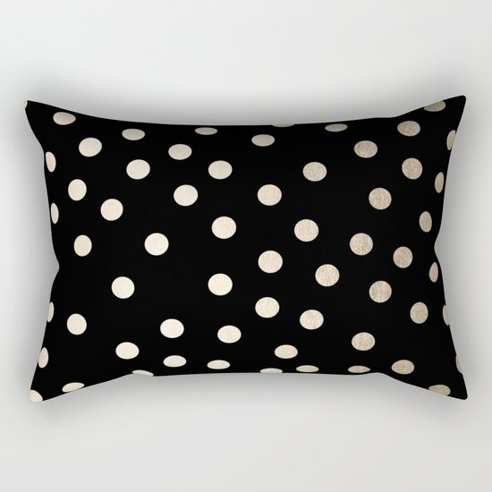 Simply Dots White Gold Sands on Midnight Black Rectangular Pillow