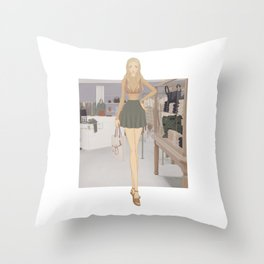Stylized Signature Shopping Fashion Illustration A Throw Pillow