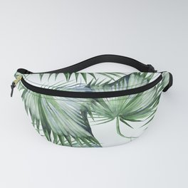 Floating Palm Leaves Green Fanny Pack